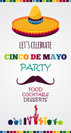 drapeau mexicain: Affiche de vecteur de vacances au Mexique. cinco de mayo