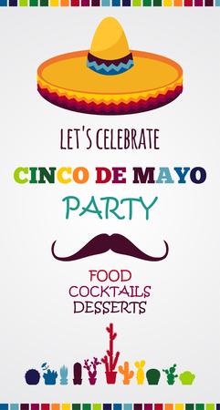 bandera de mexico: Cartel vector de vacaciones mexicana. Cinco de Mayo Vectores