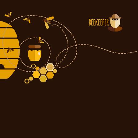 abejas panal: Antecedentes de diseño con objetos miel y abejas.