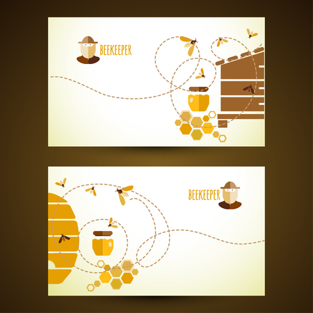 label design: Background design with honey and bee objects.
