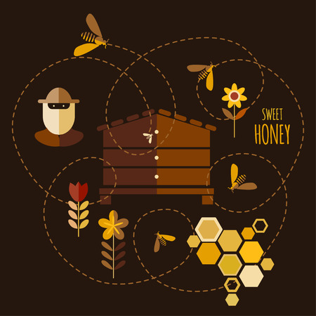 mead: Background design with honey and bee objects.