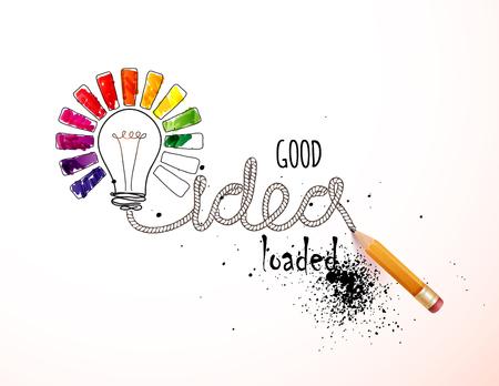 Creative idea loaded, vector concept for inspiration Vectores