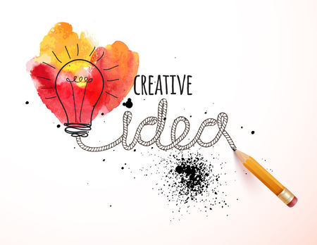 Creative idea loaded, vector concept for inspiration Çizim