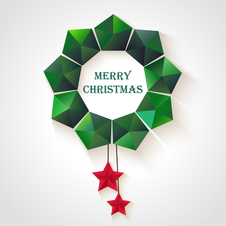 Christmas wreath of geometric shapes. Cristmas  backgrounds Vectores