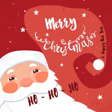 cristmas card: Christmas card with Santa Claus. Merry Cristmas