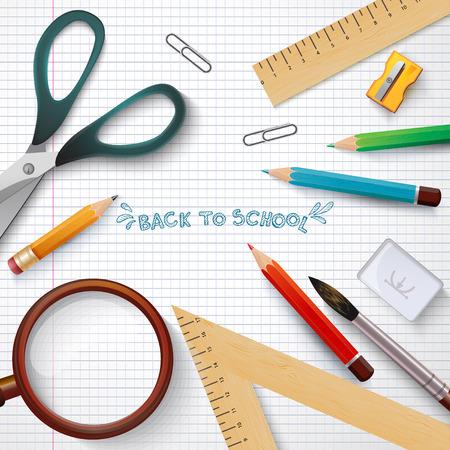 Articles scolaires avec des crayons de couleur. École Icône Elements. Vecteurs