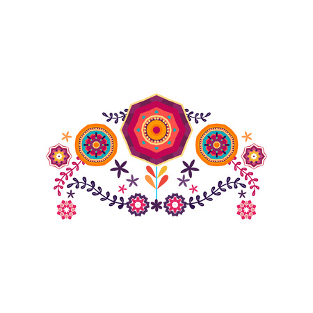 Mexico flowers, pattern and elements.