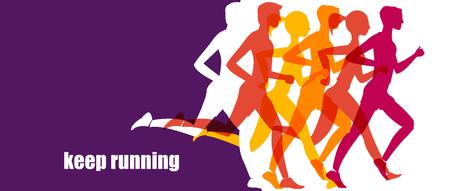 Uruchamianie maraton, ludzie uciekają, kolorowy baner Ilustracje wektorowe