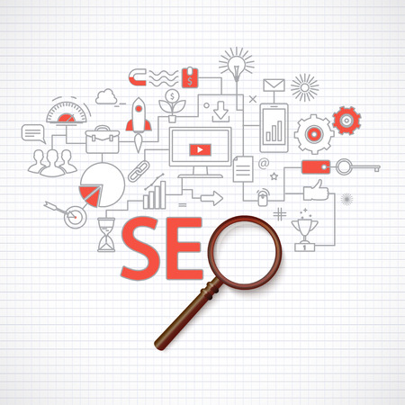 Concept of seo technology, web traffic optimization, conversions marketing.Flat thin line design vector illustration Illustration