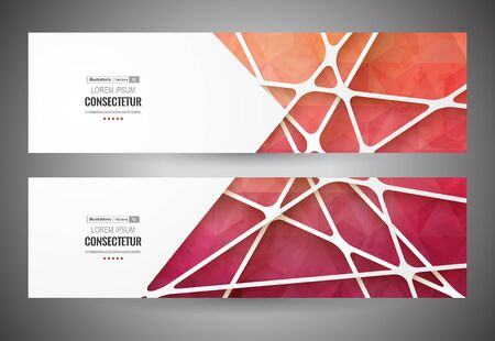 Colorful mosaic banner info graphics composition with geometric shapes. Illustration