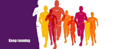 Running marathon, people run, colorful banner Illustration