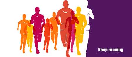 Running marathon, people run, colorful banner Stock Vector - 86425804