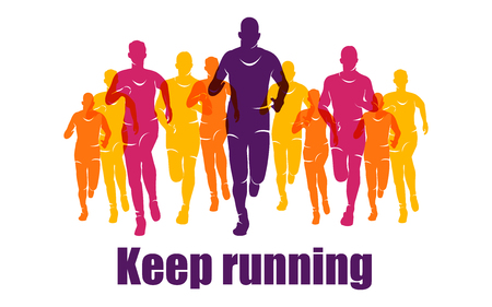 Running marathon, people run, colorful banner Illustration