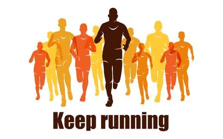 Running marathon, people run, colorful banner Çizim