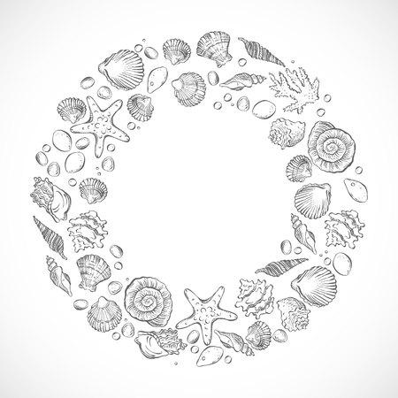 Monochrome round frame of ornaments.