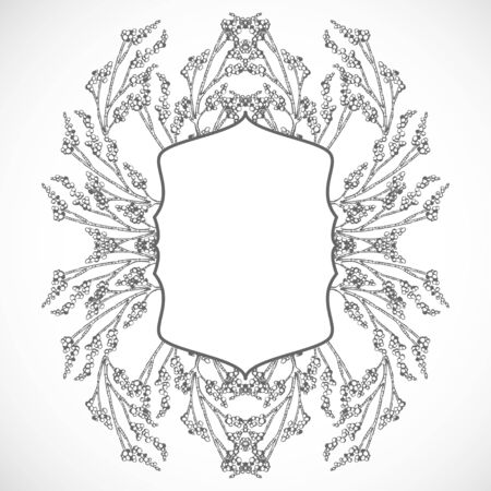 Monochrome frame of branches Ilustrace
