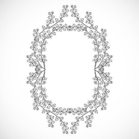 Monochrome frame of branches Ilustração
