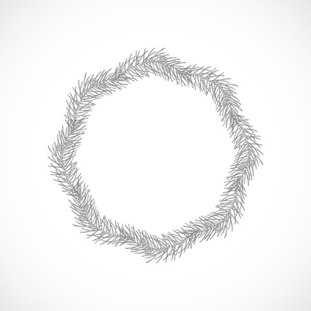 Monochrome delicate frame of branches Ilustração