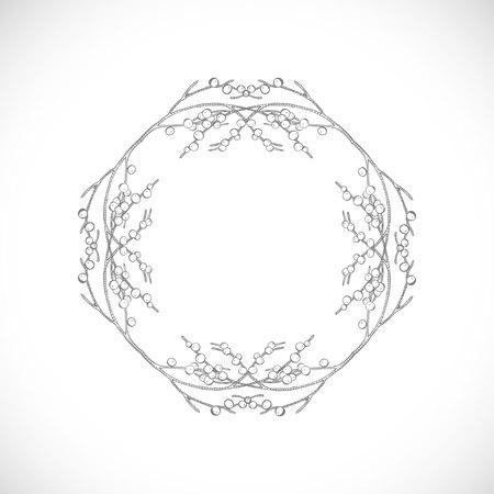 Monochrome delicate frame of branches Çizim