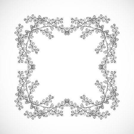 Monochrome frame of branches Çizim