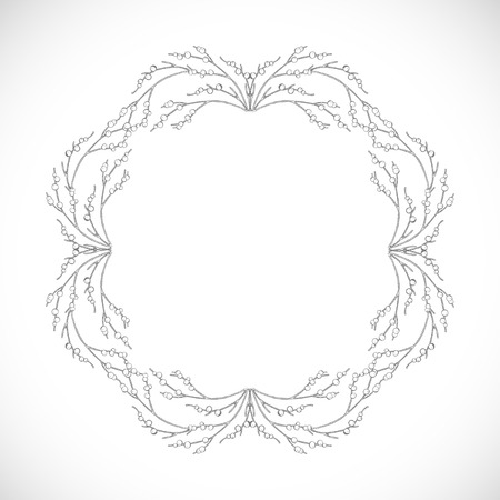 Monochrome delicate frame of branches Illustration
