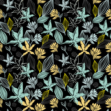 Seamless patern, branches and plants of the tropics Ilustrace