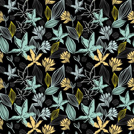 Seamless patern, branches and plants of the tropics Ilustração