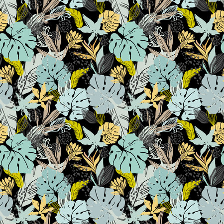 Jungle abstraction. Tropical leaves and plants.