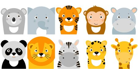 Banner, background, flyer, placard in hand drawn style with cute jungle animals Foto de archivo - 129366494