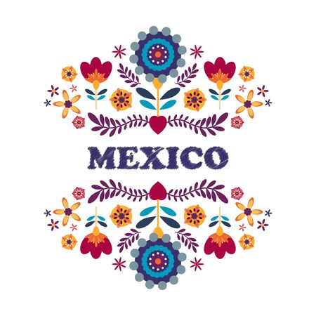 Colorful Mexican Traditional Textile Embroidery Mexico