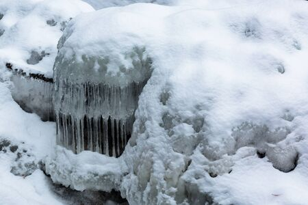Icicles formed from a river in Wisconsin