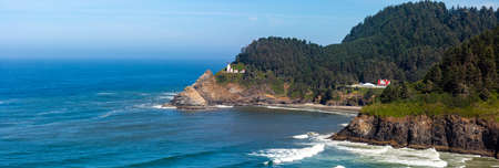Heceta Head Lighthouse between Yachats and Florence Oregon on the Pacific Ocean in August, panoramic