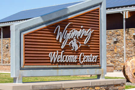 Wyoming welcome center sign when you are coming in on interstate 90, horizontal Sajtókép