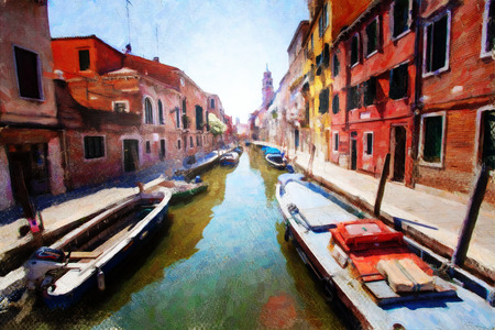 A view of the canal , boats and buildings in Venice photo