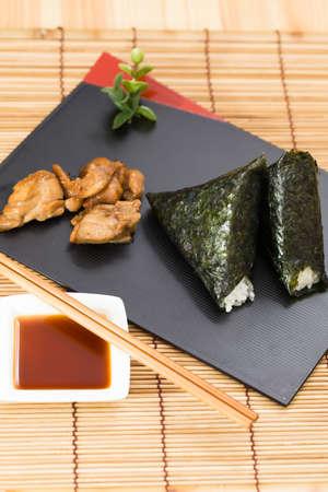 Rice ball with teriyaki chicken photo