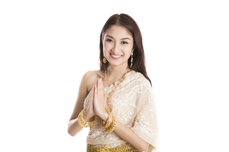 Portrait of Thai young lady in an ancient Thailand dance with isolated background. photo
