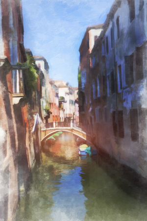 A view of the canal , boats and buildings in Venice, digital watercolor photo
