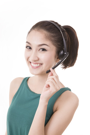 Asian women call center with phone headset with white background Stock Photo