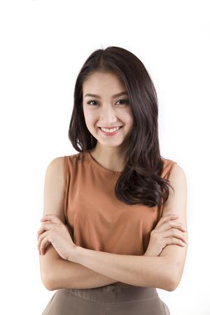 カジュアルなアジアの女性の白い背景の分離