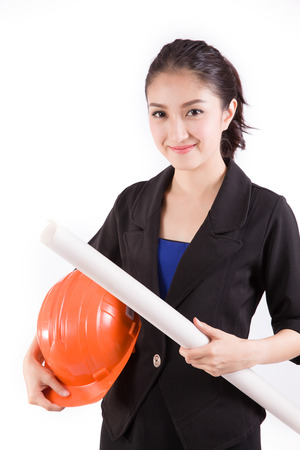 asian architect: Female engineer with a white background