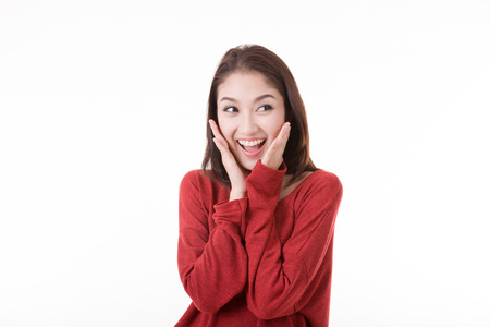 Portrait beautiful Asian Girl with white background Stock Photo