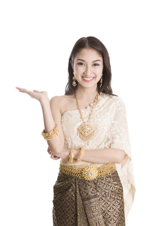thailand culture: Asian woman traditional dance with white background