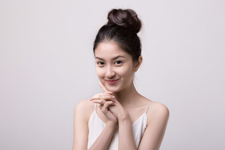 asian girl face: Portrait beautiful Asian Girl Stock Photo
