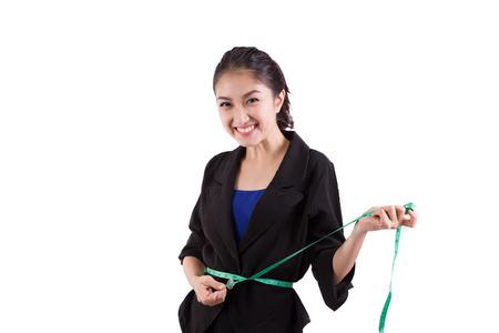 needlewoman: Young needlewoman taking measures of herself