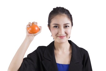 stress ball: businesswoman squeezing a stress ball