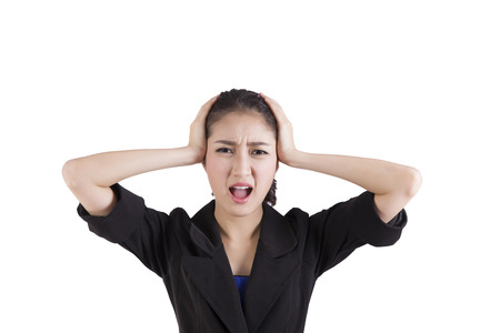 going crazy: Stressed business woman is going crazy
