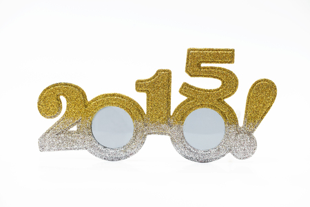 glod: Fancy glasses 2015 New Year concept Stock Photo