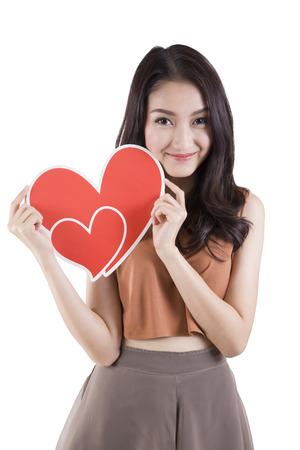 Woman holding heart Stock Photo