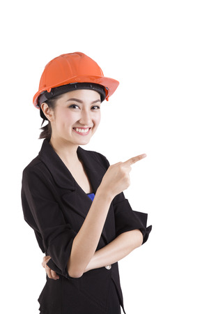 Female engineer with a white background photo