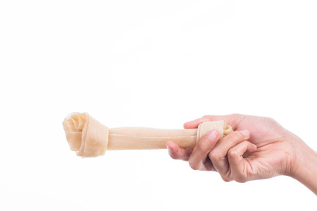 dog bone: Hand holding a bone against white background